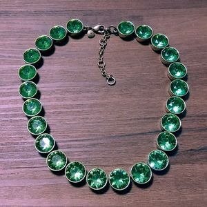 Brûlée Brulee Peridot crystal gold tone necklace